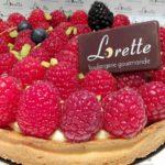 Tarte framboises pistaches de Lorette