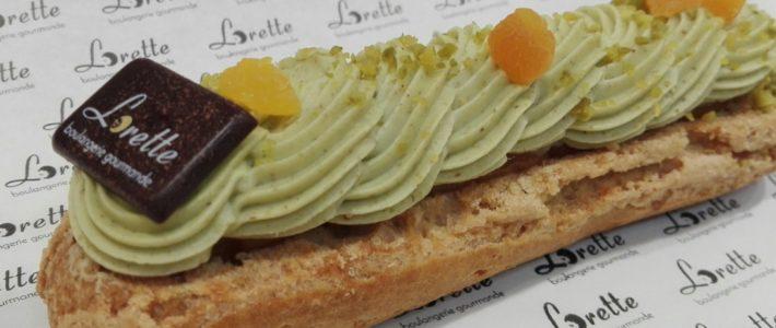 Eclair pistache abricot de Lorette boulangerie Paris