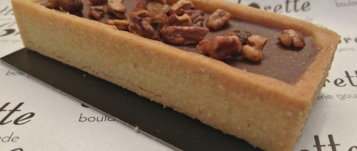 Tartelette au chocolat et praliné pécan Valrhona de Lorette