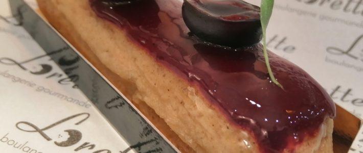 Eclair cerise estragon de Lorette, boulangerie à Paris