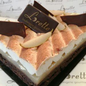 Le RÉCONFORT, entremets chocolat poires et vanille de Lorette