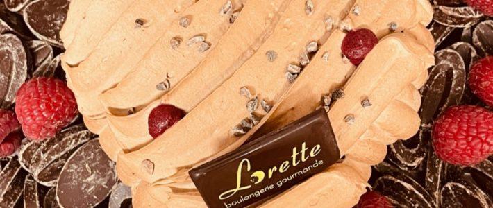 Entremets spécial Saint Valentin chocolat framboise de Lorette, boulangerie à Paris